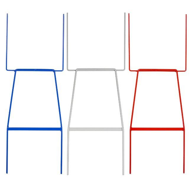 wire stakes blue white and red