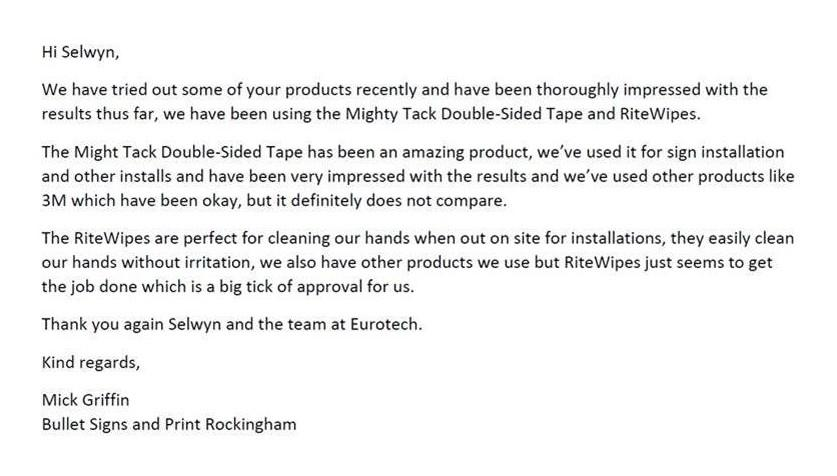double sided tape mightytack testimonial